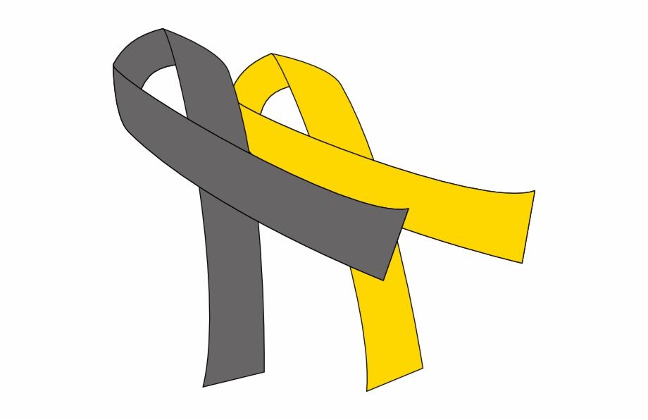 Grey And Gold Cancer Ribbon.