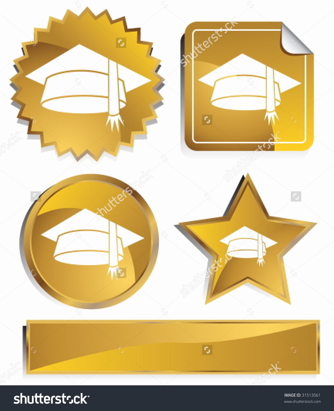 Graduation Cap Icon Set Gold Satin Stock Vector 31513561.