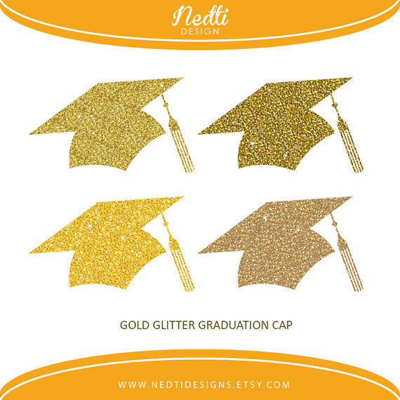 4 Glitter Gold Graduation Cap Golden Glitter Hat Clip Art.