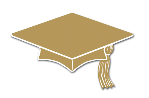 Gold Graduation Hat Clipart.
