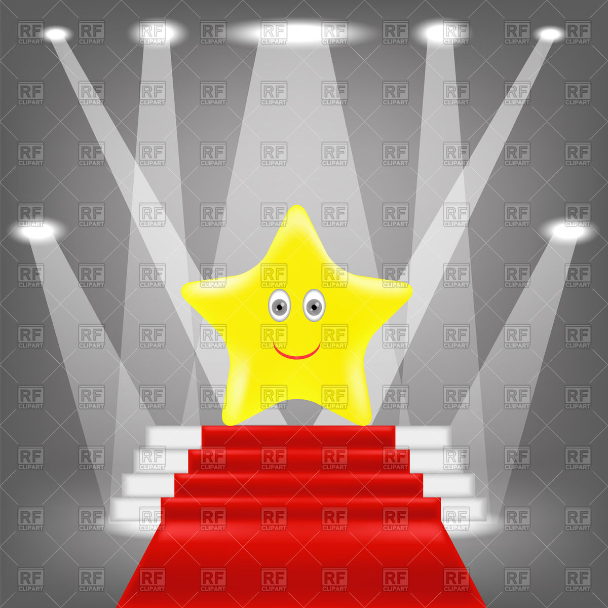 Golden star on red carpet with spotlights on grey background.