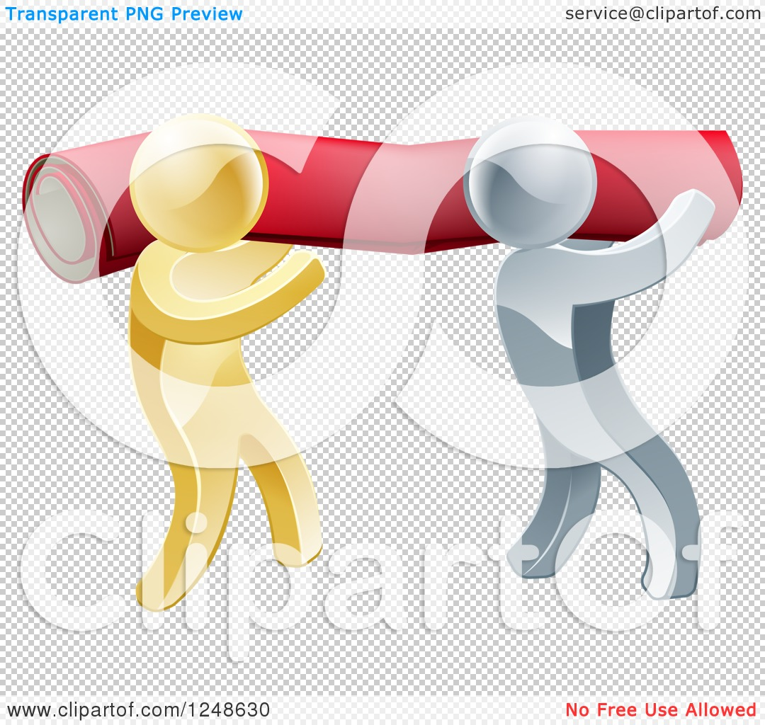 Clipart of 3d Silver and Gold Carpet Installers Carrying a Roll.