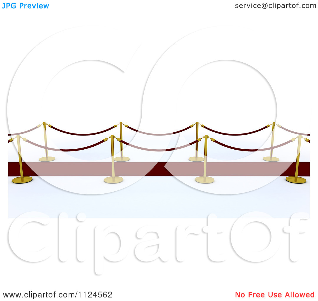 Clipart Of A 3d Red Carpet With Gold Posts.