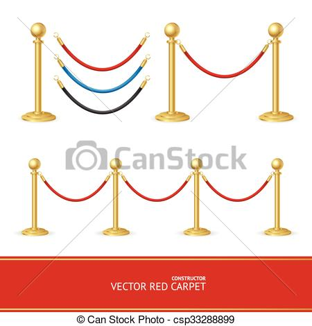 EPS Vectors of Red Carpet Gold Barrier Constructor. Vector.