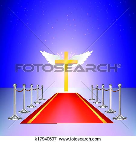 Clip Art of Gold cross, red carpet and fencing of chrome struts.