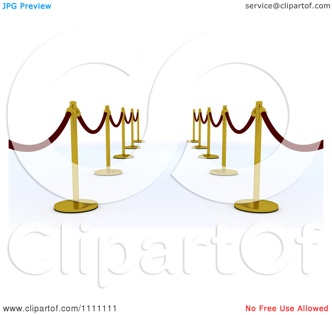 Clipart 3d Velvet Ropes And Gold Poles Along A Path.