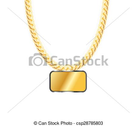 Vector Clipart of Gold Chain Jewelry Whith Gold Pendants. Vector.