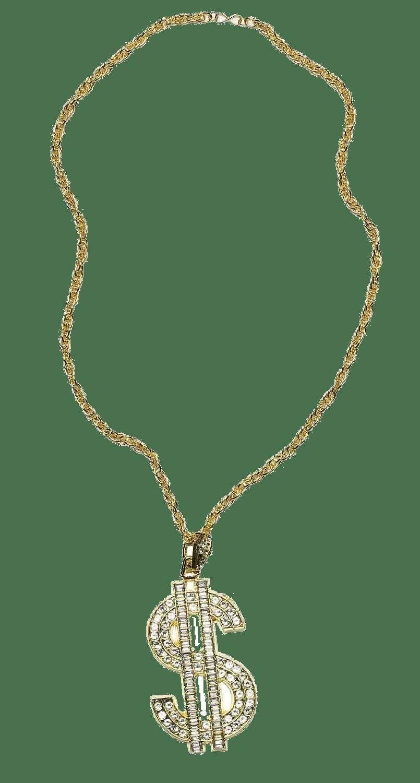 Thug Life Gold Chain Dollar Rocks transparent PNG.
