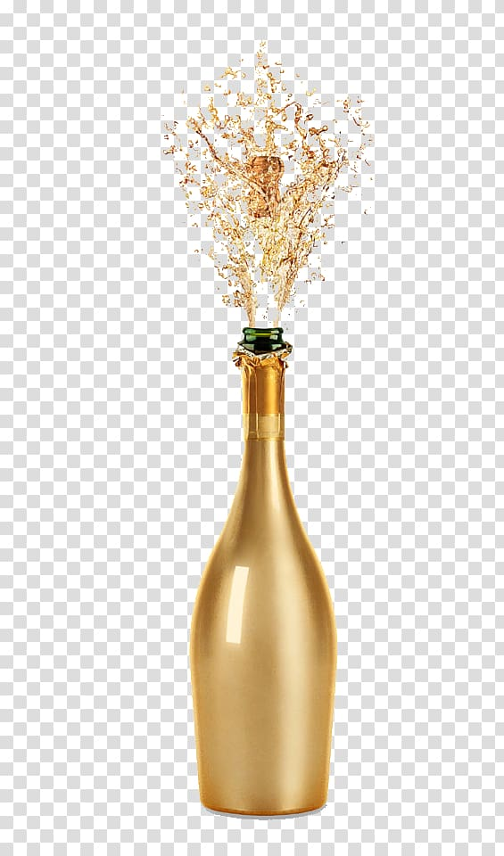 Opened glass bottle illustration, Champagne Wine glass Fizz.