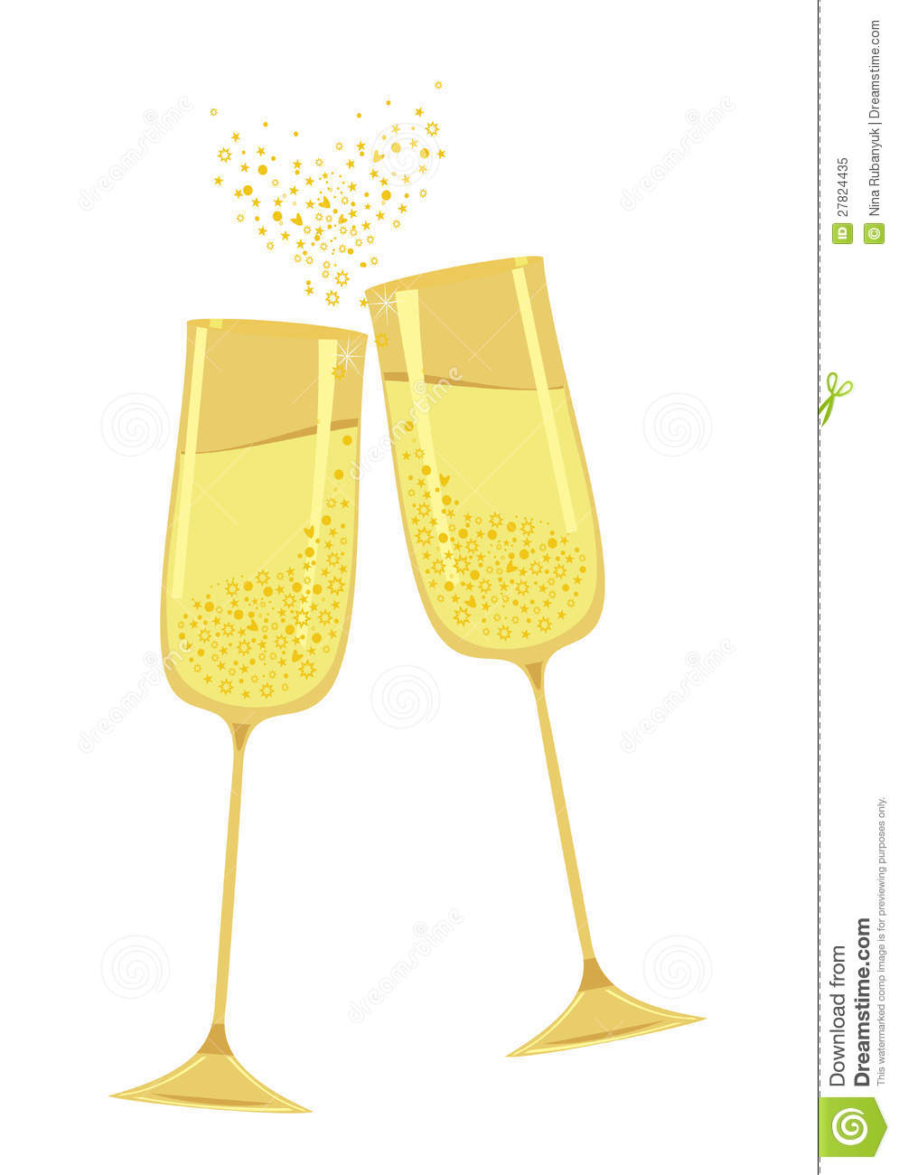 Gold Champagne Glass Clipart.