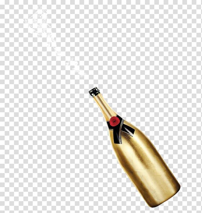 Champagne Wine Bottle, Gold beer bottle transparent.