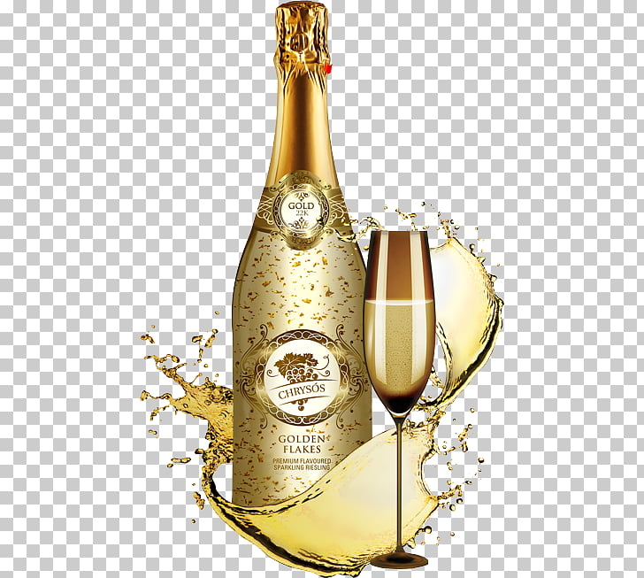 Champagne glass Sparkling wine Prosecco, gold flakes PNG.