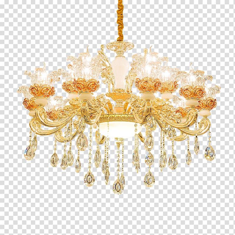 Chandelier Baroque Brass Lamp Light fixture, Brass.