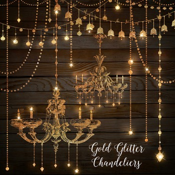 Gold Glitter Chandeliers and String Lights Clipart.