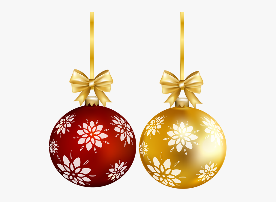 Red Gold Christmas Ball Png Transparent Clip Art.
