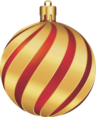 CHRISTMAS GOLD AND RED SWIRL ORNAMENT CLIP ART.