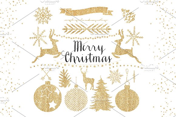 Gold Christmas Clipart ~ Objects on Creative Market.