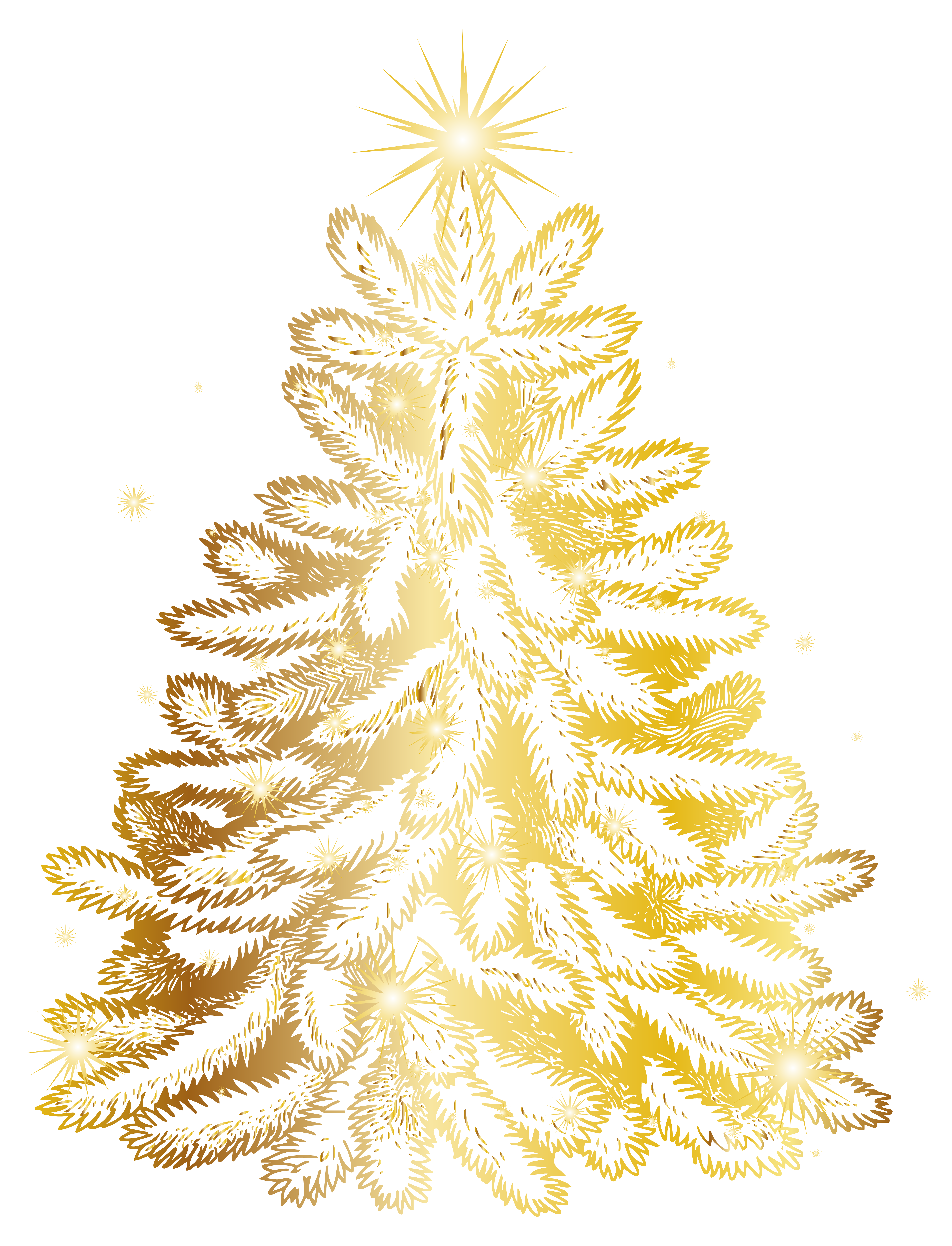 Christmas Gold Tree Transparent PNG Clip Art Image.