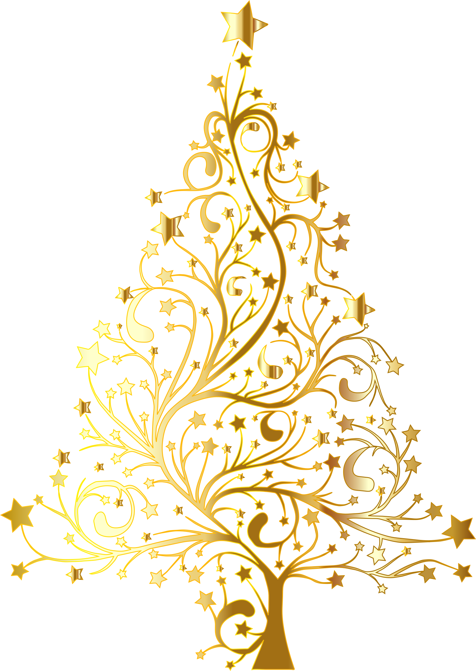 Christmas gold tree clipart transparent background.
