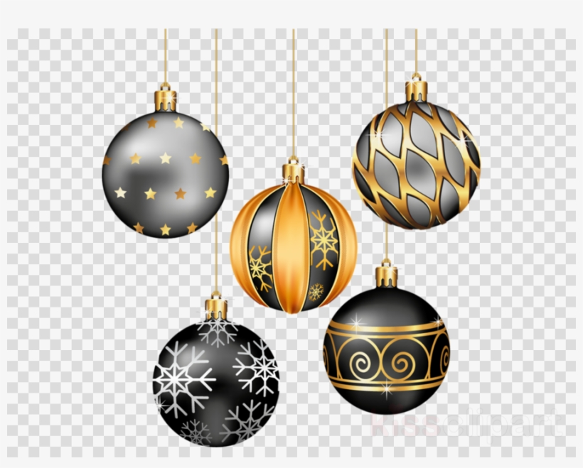 Download Black And Gold Christmas Ornaments Clipart.