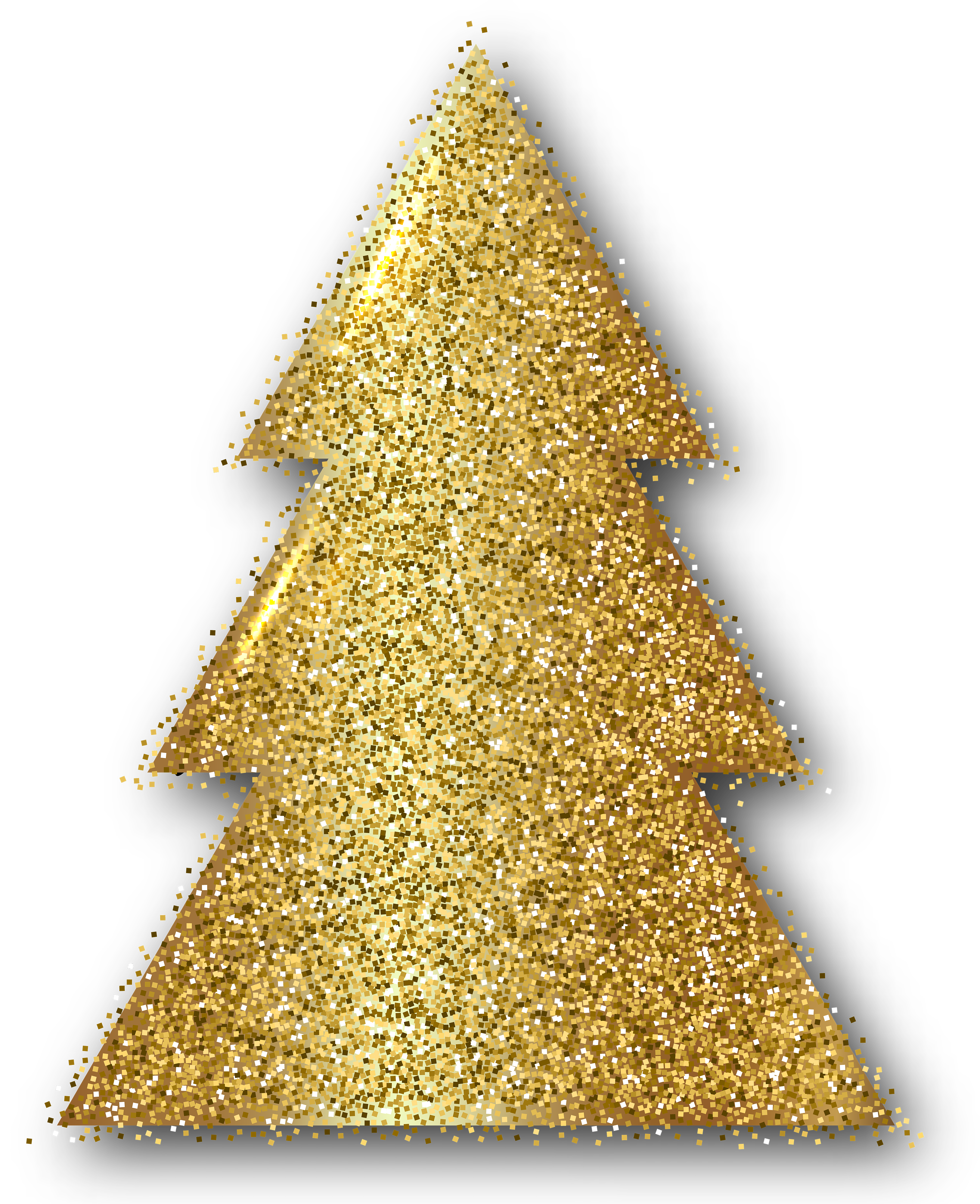 Gold Christmas Tree Clip Art PNG Image.