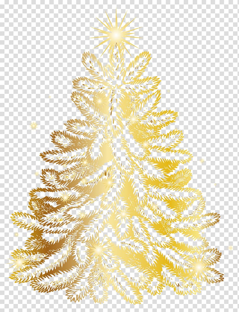 Gold Christmas tree illustration, Christmas tree Gold.