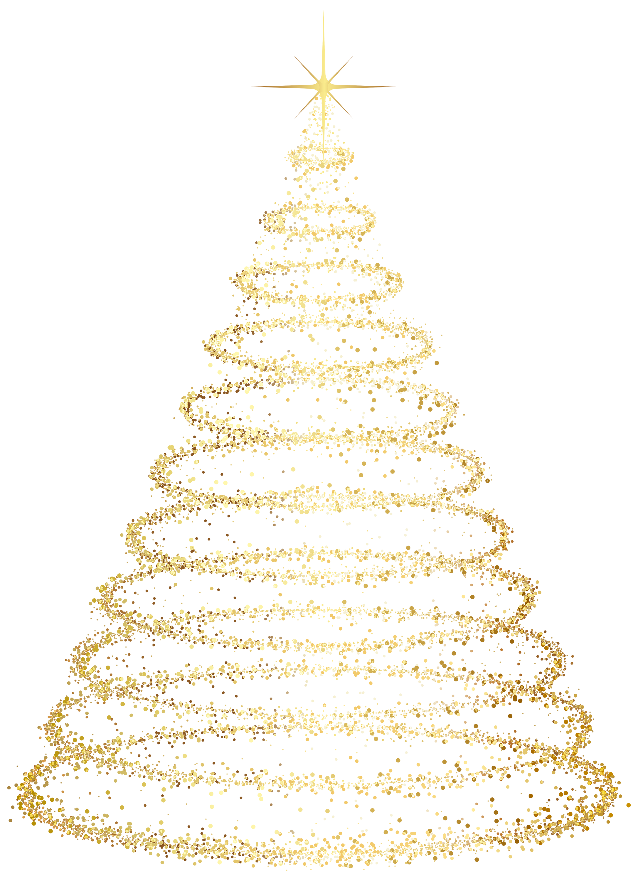 Transparent Background Gold Christmas Tree Clipart.