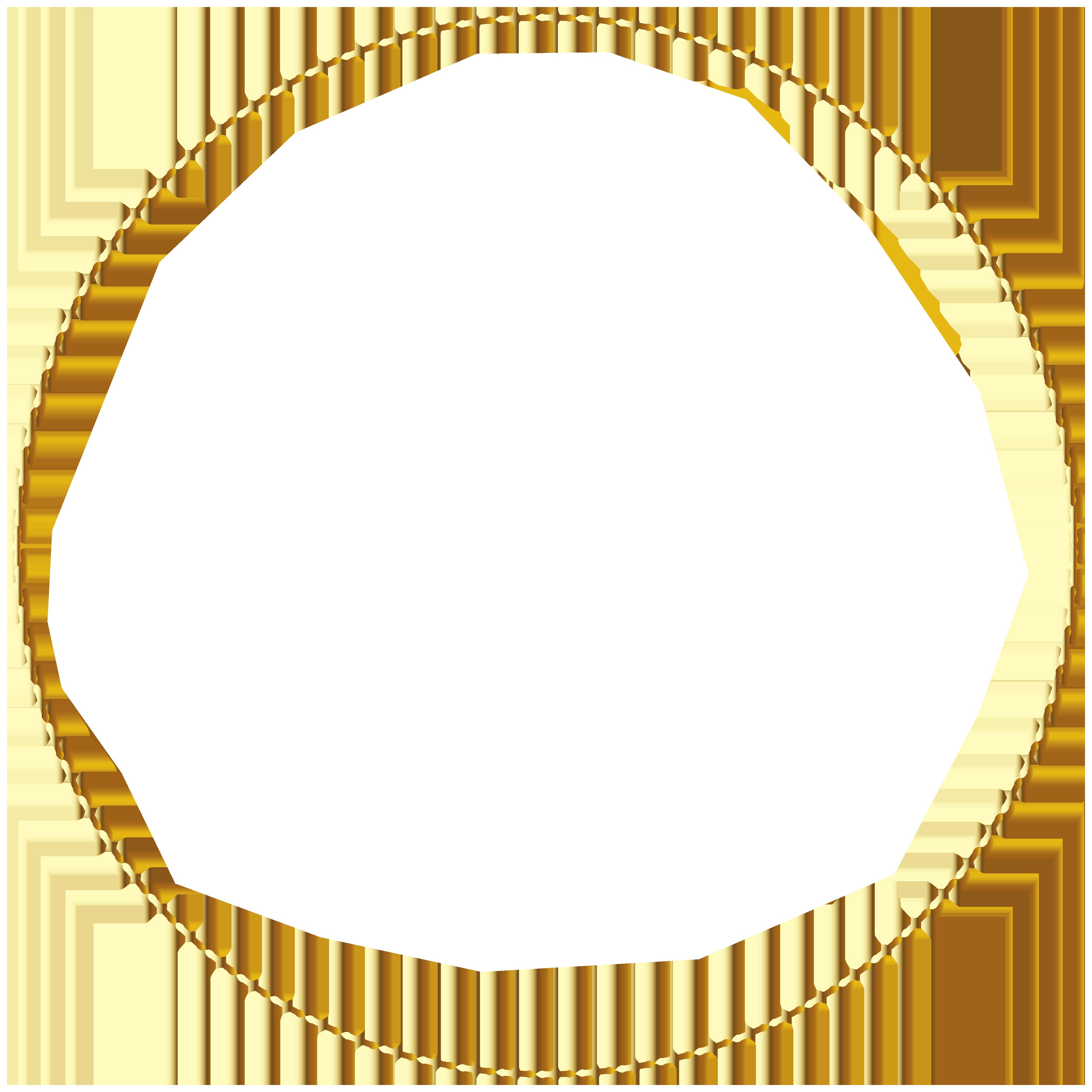 Gold Round Border Frame Transparent PNG Image.