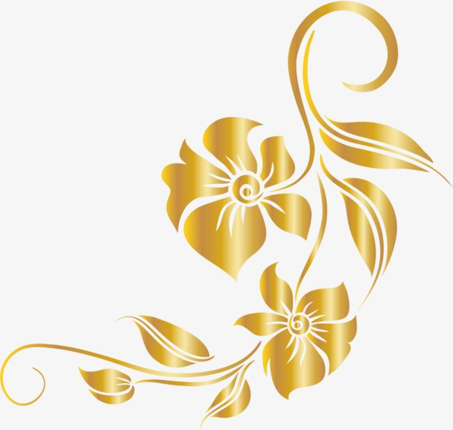 Luxury Golden Flower, Flower Clipart, Luxurious, Leaf PNG.