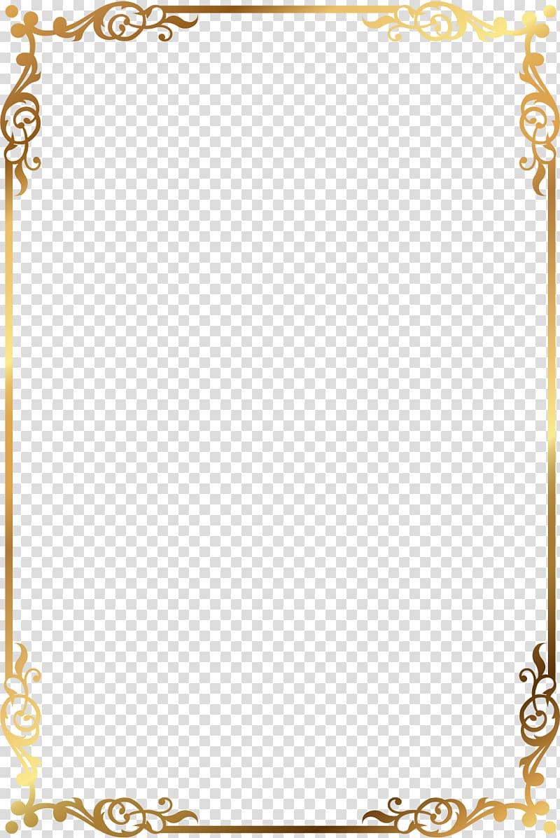 Gold pattern frame, gold and brown floral frame transparent.