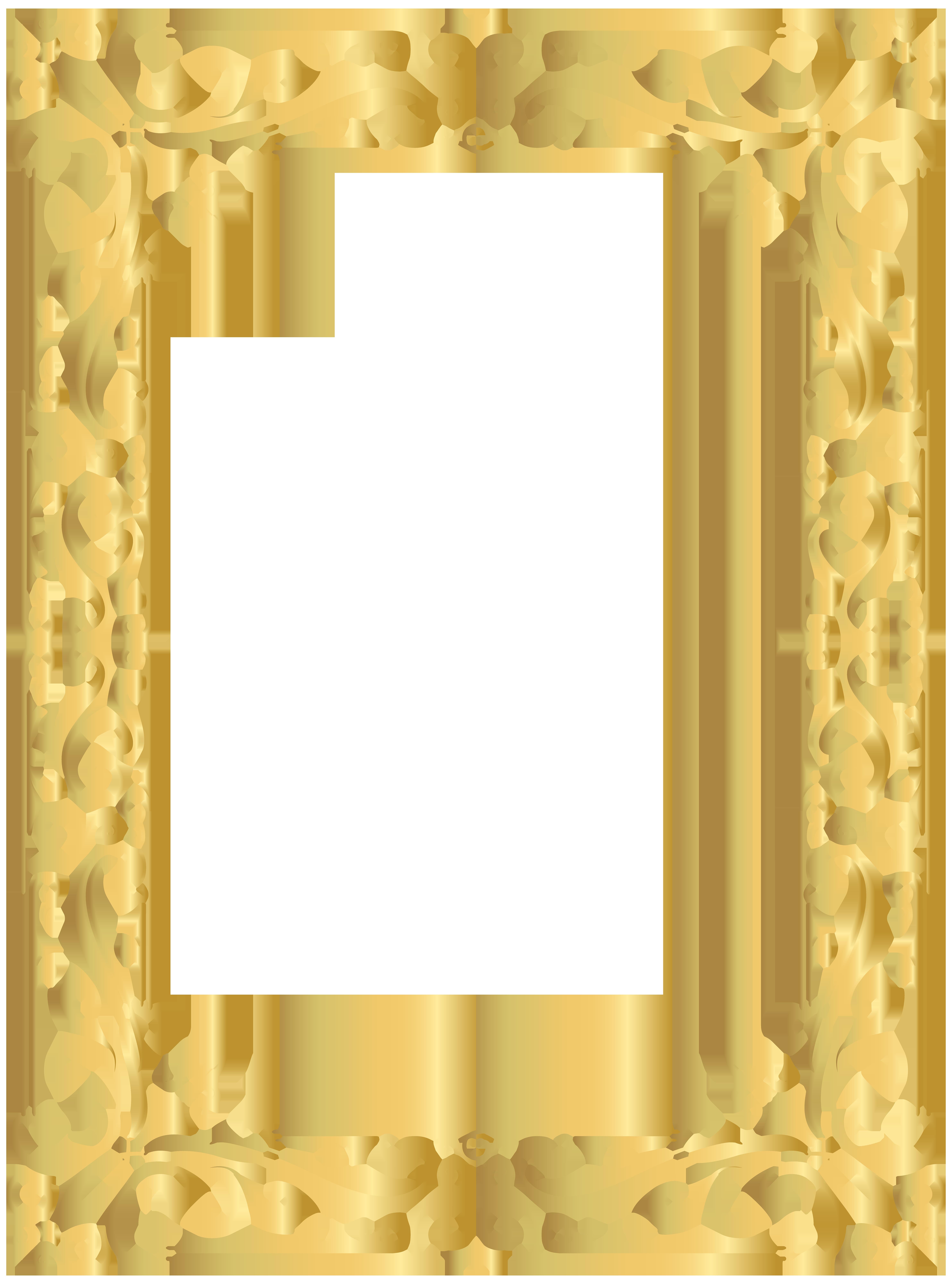 Border Frame Gold PNG Clipart Image.