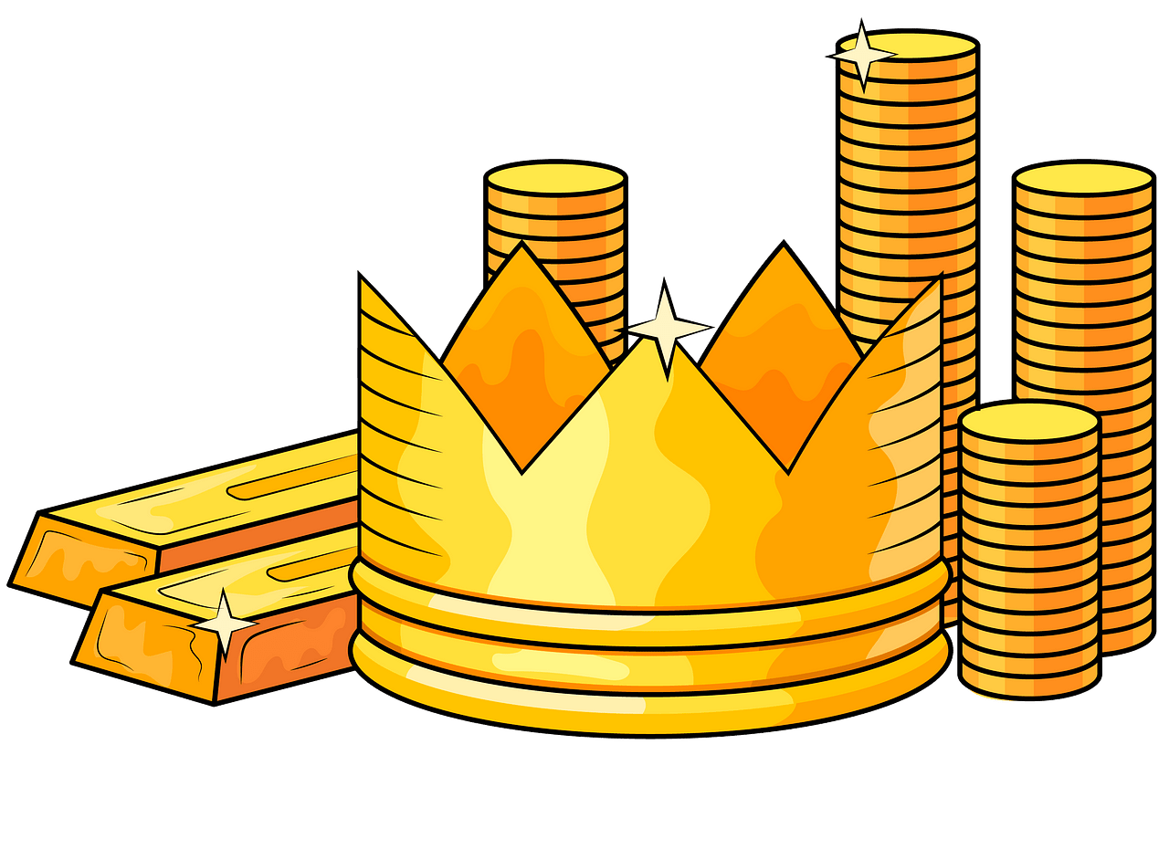 Gold bars, crown and coins clipart. Free download..