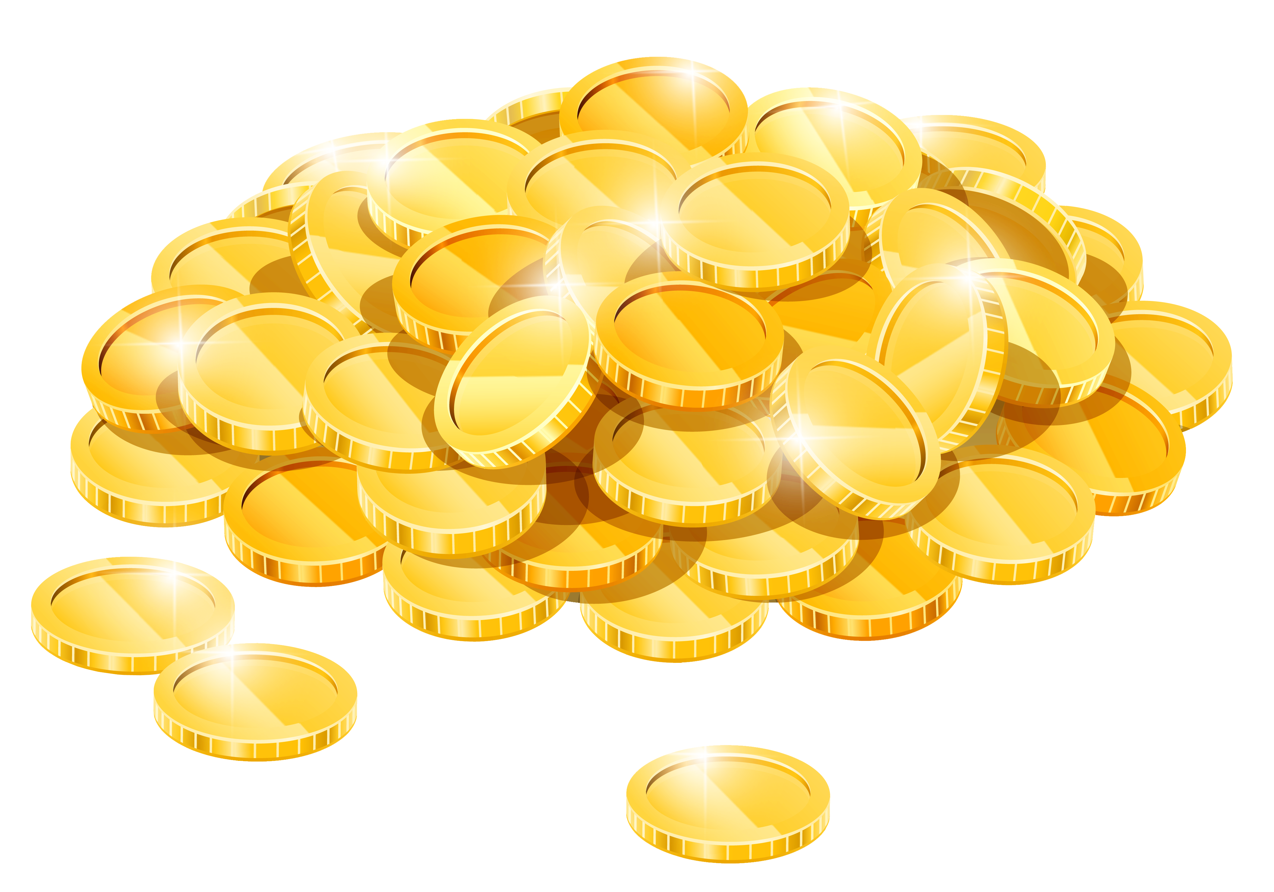 Gold Coins Pile PNG Clipart.
