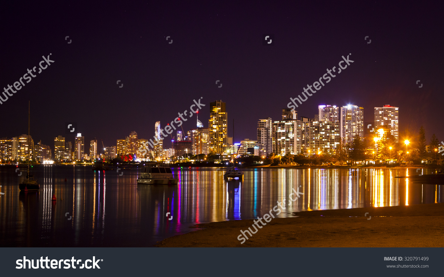 Southport Gold Coast Queensland Australia Night Stock Photo.