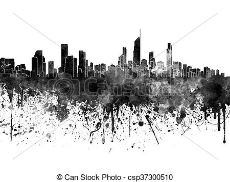 Clipart of Gold Coast skyline in black watercolor csp37300510.