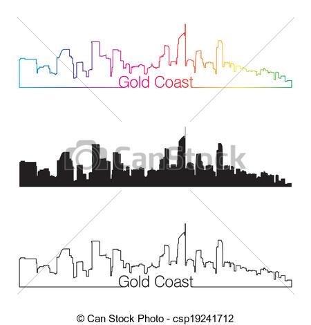 Vector Clip Art of Gold Coast skyline linear style with rainbow in.