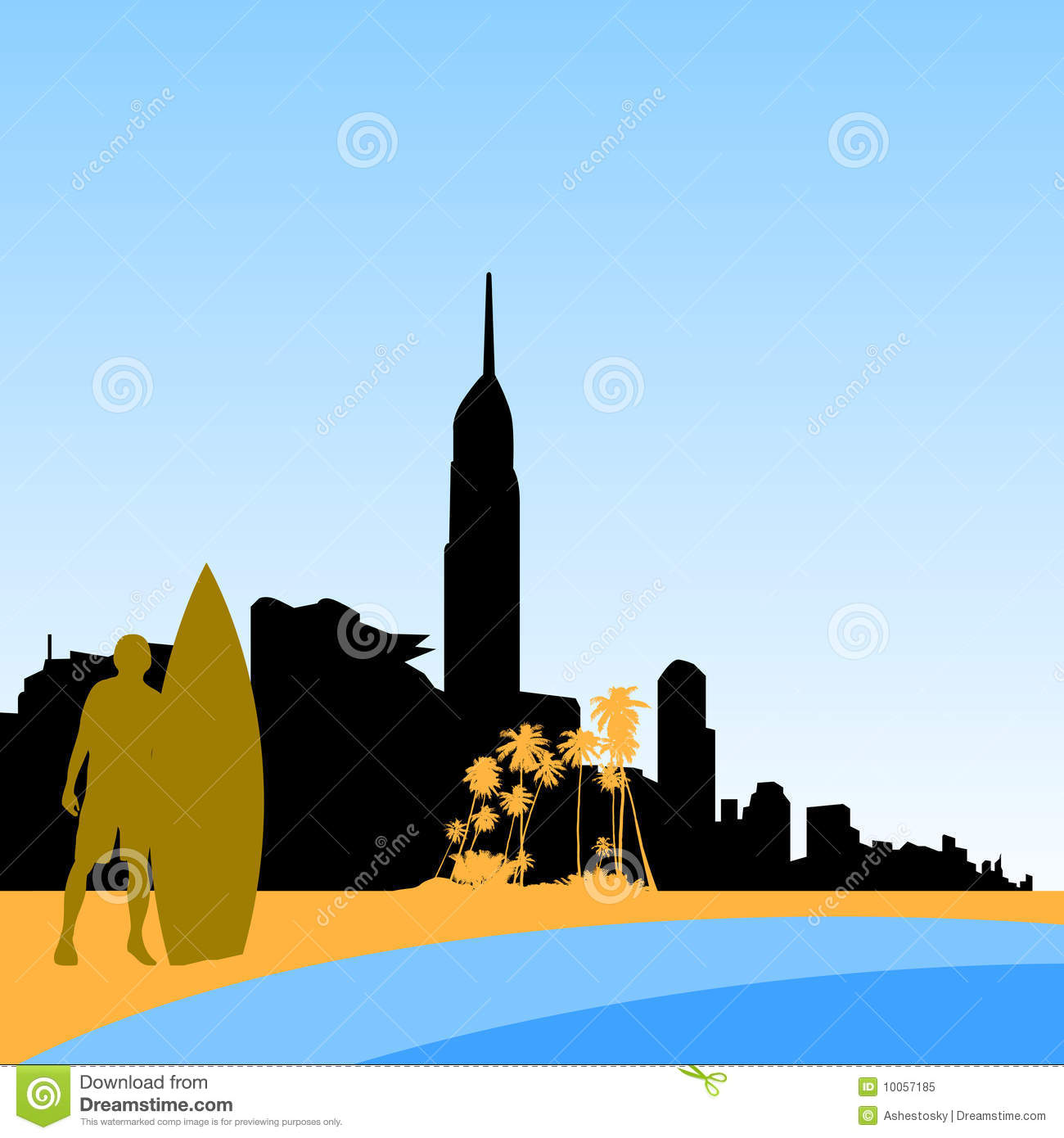 Gold Coast Surfers Paradise Skyline Royalty Free Stock Photo.
