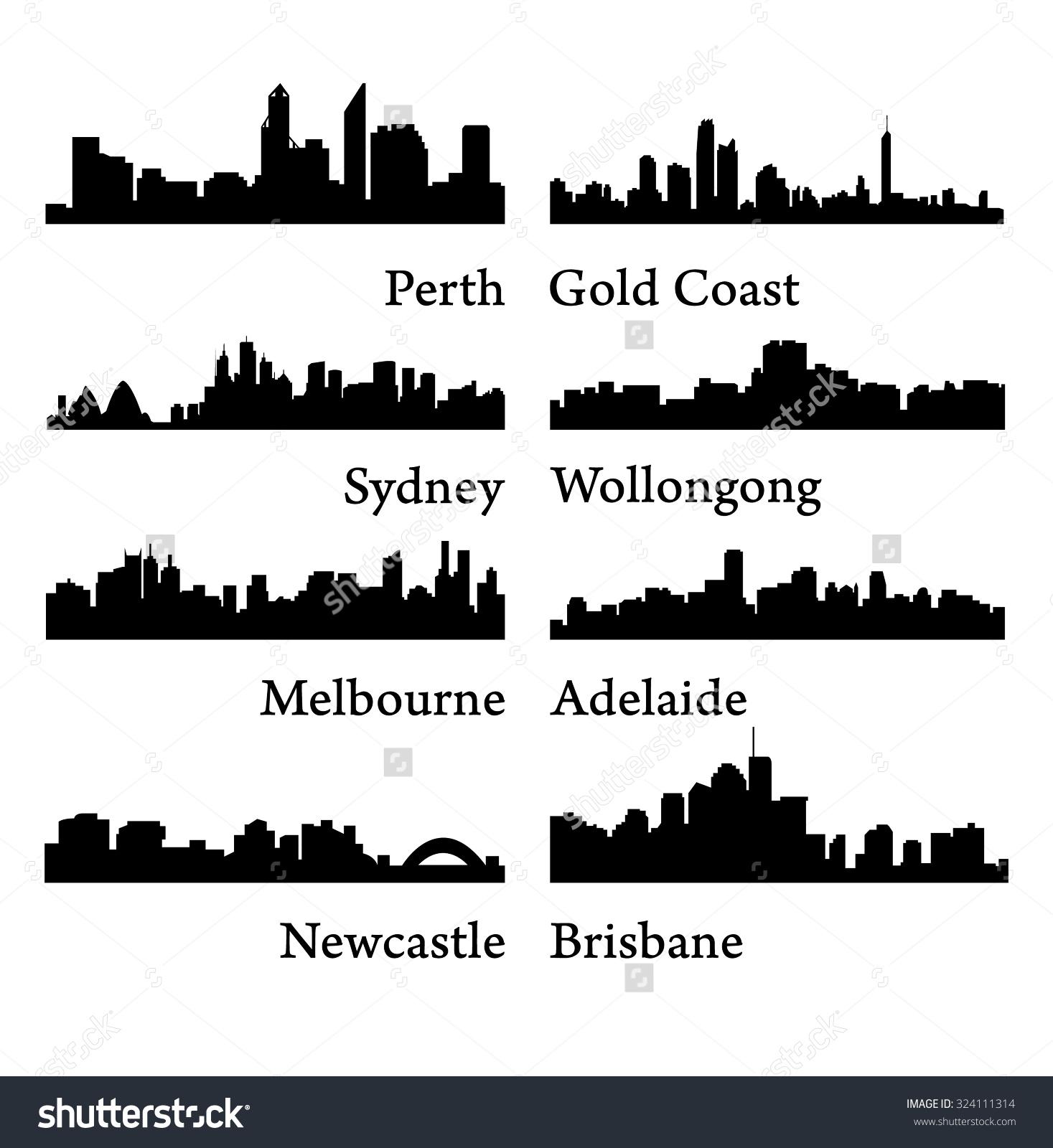 Set 8 City Silhouettes Australia Sydney Stock Vector 324111314.