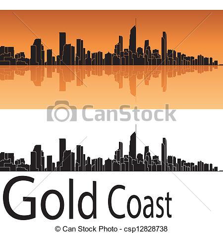 Vectors of Gold Coast skyline in orange background in editable.