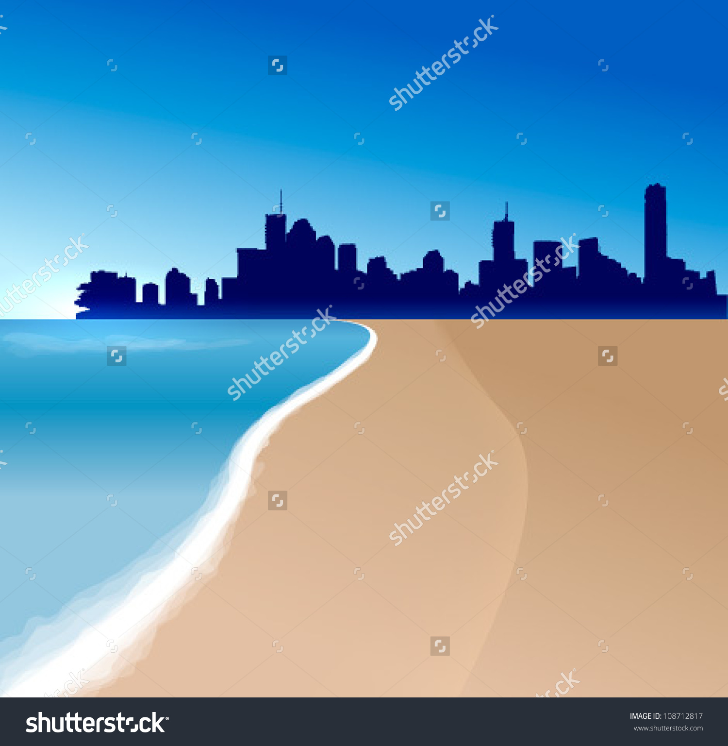 Brisbane Vector Illustration With Beach And Sea.