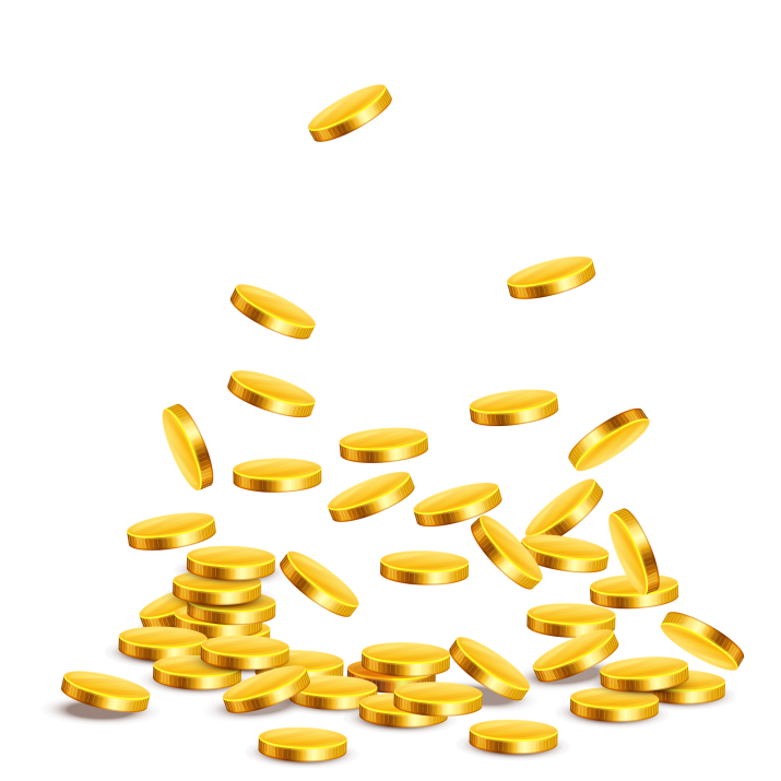 Gold Coins on transparent background Free Download searchpng.com.