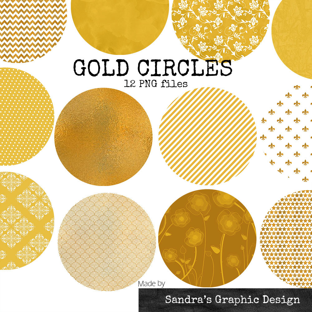 "Clip art: ""GOLD CIRCLES"" with various patterns in color gold, 12."