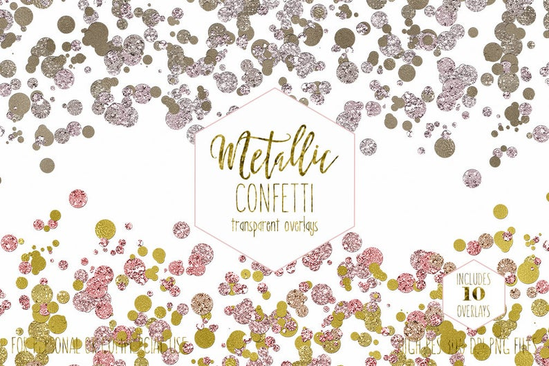 GOLD CONFETTI BORDERS Clipart for Commercial Use Clip Art Rose Gold  Transparent Overlays Metallic Wedding Invitation Party Digital Graphics.