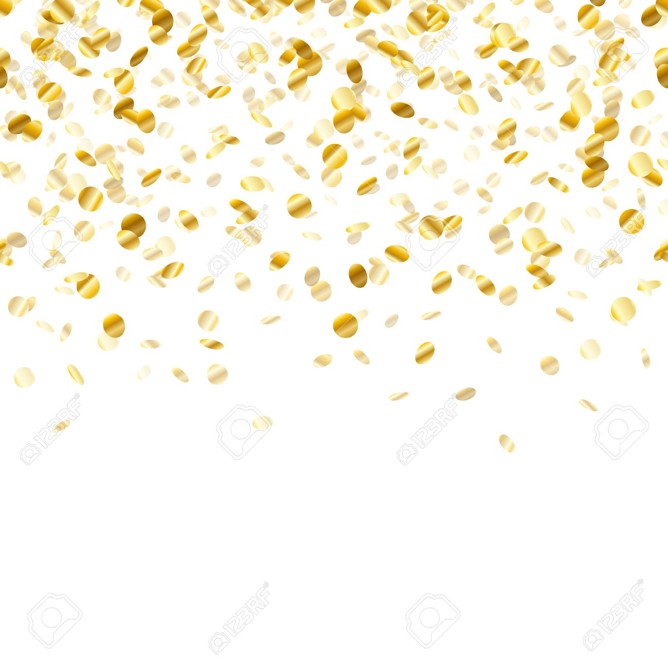 Golden confetti background. Seamless horizontal pattern. Metallic...