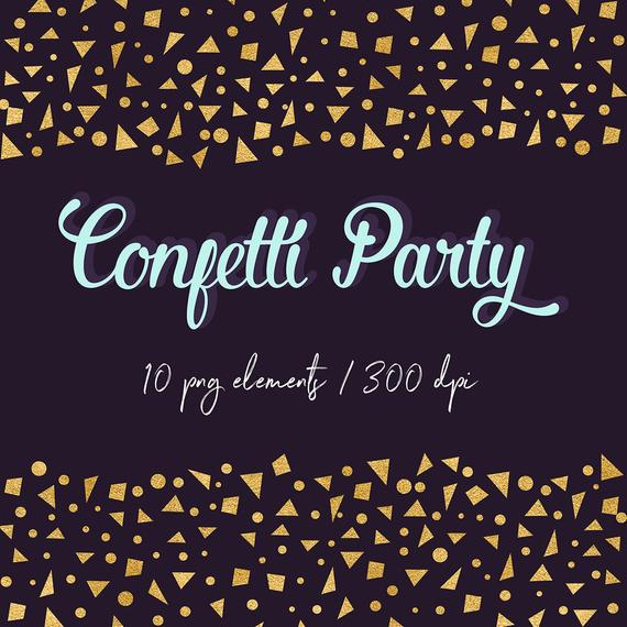 Gold Confetti Clipart, Gold Foil Digital Confetti Borders, Gold Confetti  Scraps, Confetti Stars, Confetti Triangles, PNG Files, BUY5FOR8.