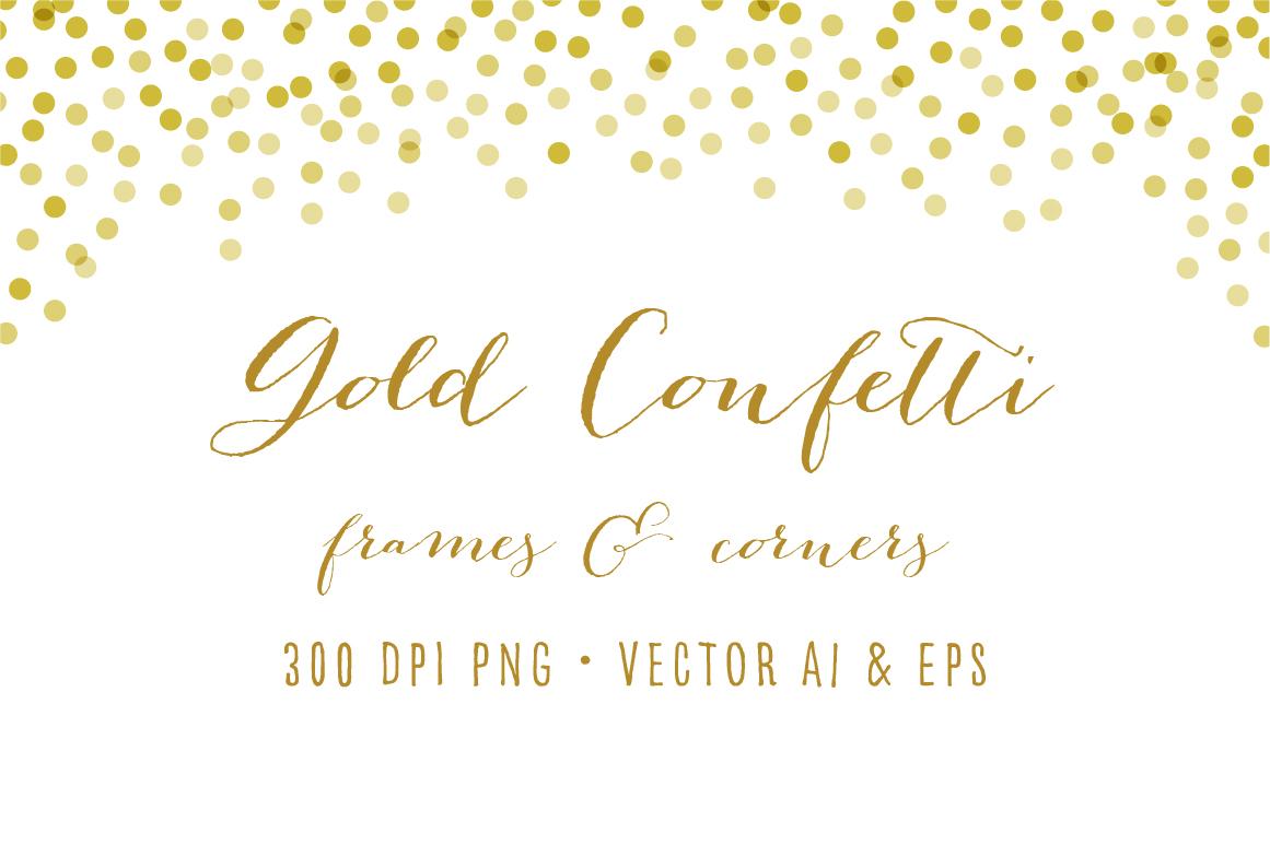 Gold Confetti Frames & Corner.