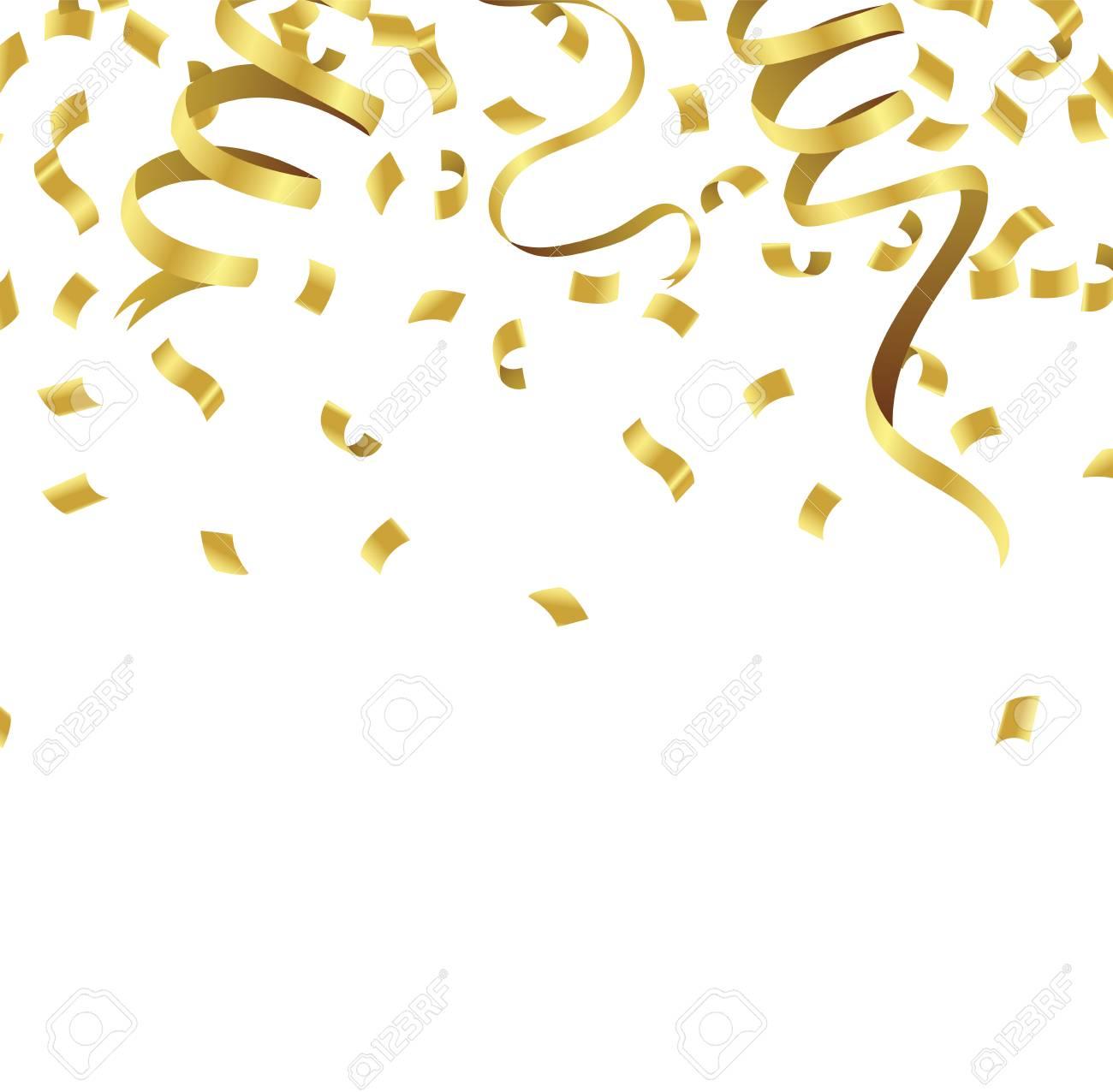 Stock vector illustration defocused gold confetti isolated on...