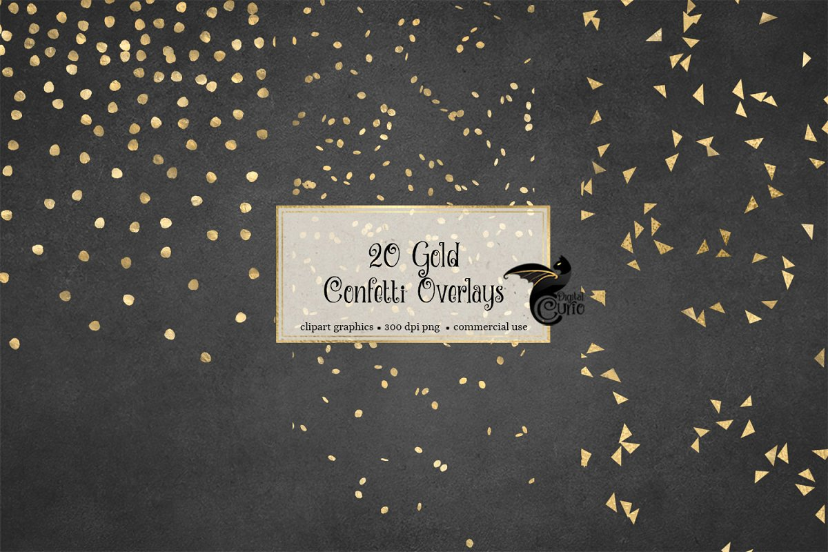 Gold Confetti Overlays ~ Graphic Objects ~ Creative Market.