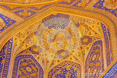 Gold Mosaic In Tilya Kori Madrasah, Samarkand, Uzbekista Editorial.