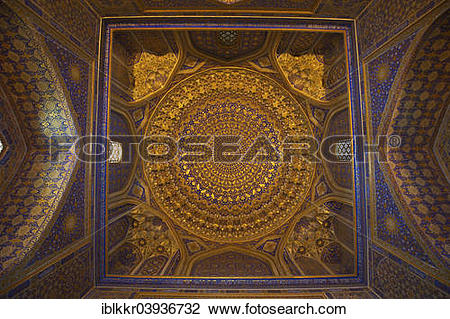 "Stock Photo of ""Ceiling decorated in gold, mosque in the Ulugh Beg."